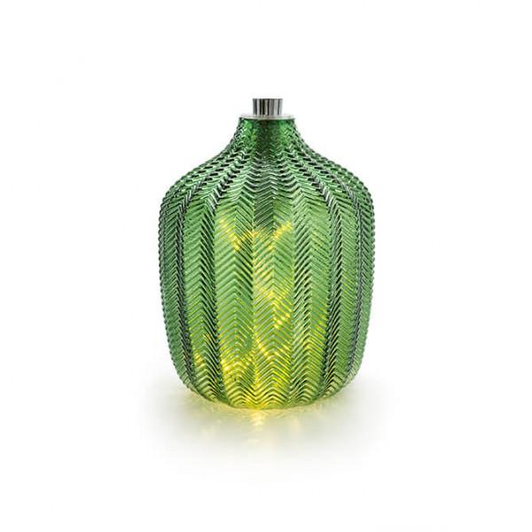 Grünes Glas mit Lichterkette, gross (Indoor)