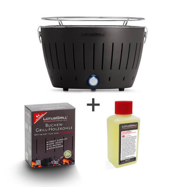 Set LotusGrill anthrazit inkl. Brennpaste (200ml) und Kohle (1kg)