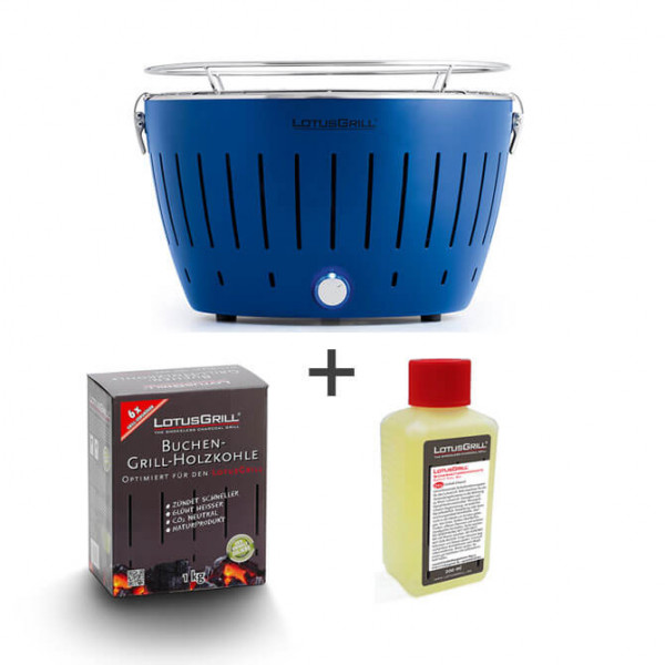 Set LotusGrill blau inkl. Brennpaste (200ml) und Kohle (1kg)